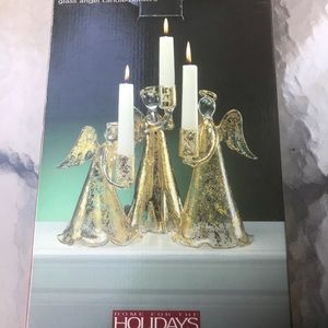 Holiday NWT 3 Glass gold plat angel candle holders
